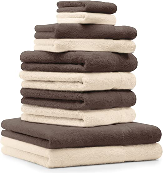 Betz Juego de 10 Toallas Premium 100% algodón 2 Toallas de baño 4 Toallas de Lavabo 4 Toallas de tocador 2 Manoplas de baño Color marrón Nuez y Beige: Amazon.es: Hogar