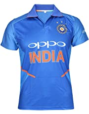 Cricket India Jersey Half Sleeve Cricket Supporter T-Shirt New Oppo Team Uniform Polyster Fit Material 2019-20 Kids to Adults