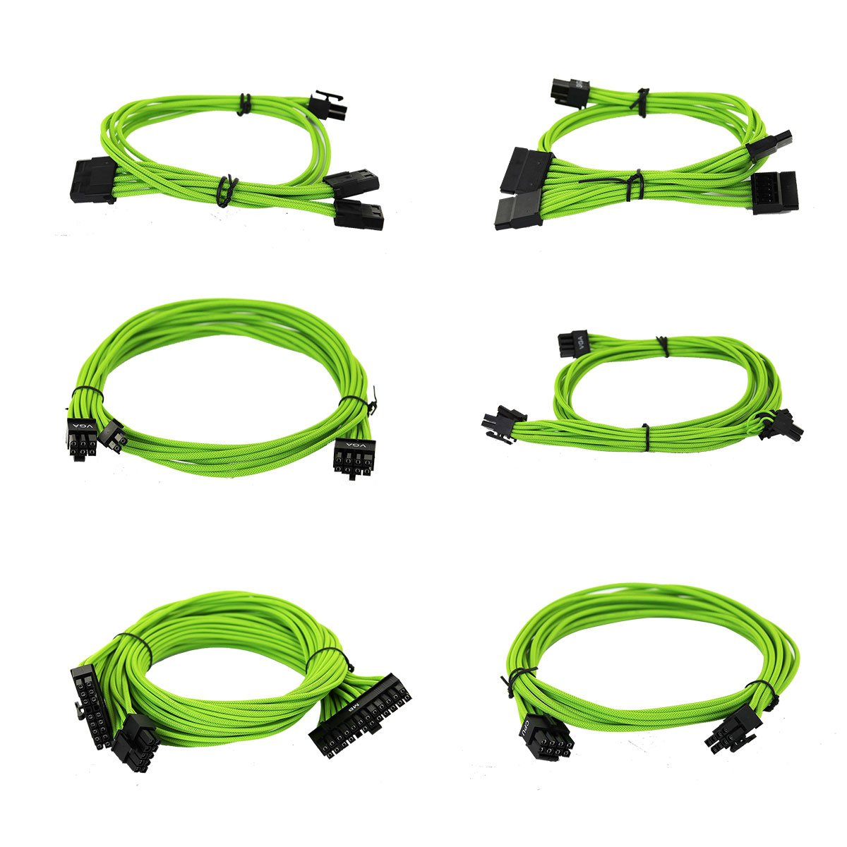 100-G2-06GG-B9 Individually Sleeved EVGA Green 550-650 G2//P2//T2 Power Supply Cable Set