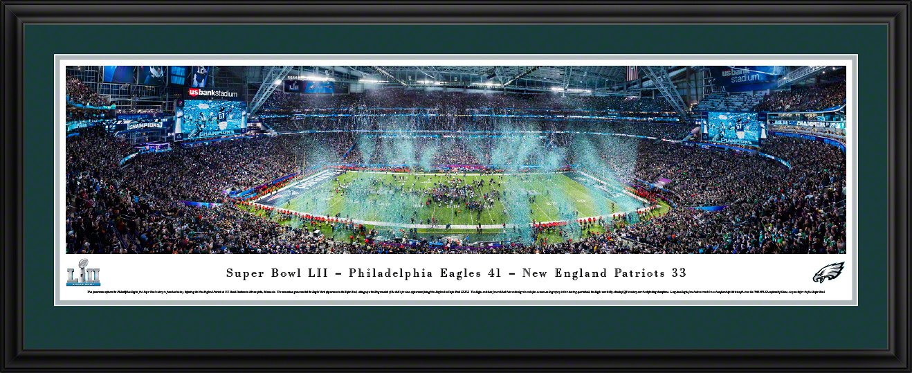 Super Bowl 2018 Champions, Philadelphia Eagles - 44x18-inch Double Mat, Deluxe Framed Picture by Blakeway Panoramas by Blakeway Worldwide Panoramas, Inc.