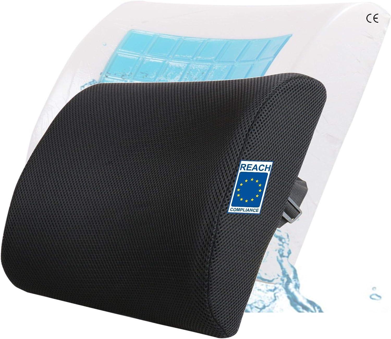 AIMO Spain Cojín Respaldo Lumbar CM-003 ortopédico ergonómico viscoelastico con Gel para Silla, Oficina, Coche, Viaje, es Bueno para y prevenir Dolor Lumbar y ciática, corrige la Postura de Espalda