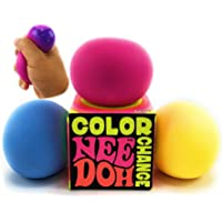Nee-Doh Schylling Color Change Groovy Glob! Squishy, Squeezy, Stretchy Stress Balls Blue, Yellow & Pink Complete Gift…