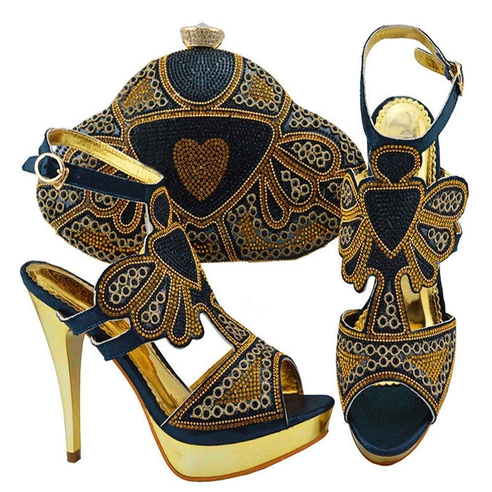 Black HUALI Green color Elegant High Heel African Women shoes Bag Set with Stones Heel 11.5cm
