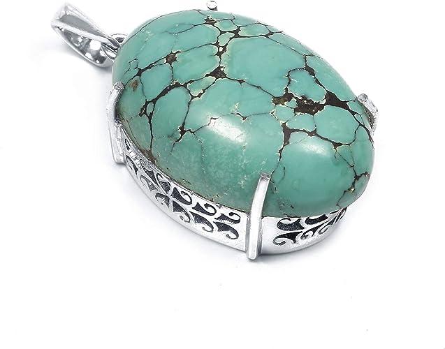 Genuine Turquoise Teardrop petit pendentif en platine .925 argent sterling Collier
