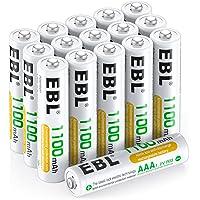 EBL Akumulator AAA 1100 mAh 16 sztuk – typ Ni-MH, 1,2 V akumulator do ponownego ładowania z pojemnikiem na baterie…