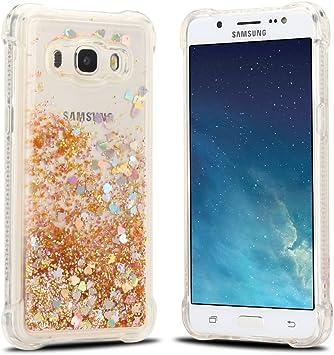 Funda Samsung J5 2016, Carcasa Samsung J5 J510 Silicona, RosyHeart Sparkle Brillar Líquido Corazón Lentejuelas Ultra