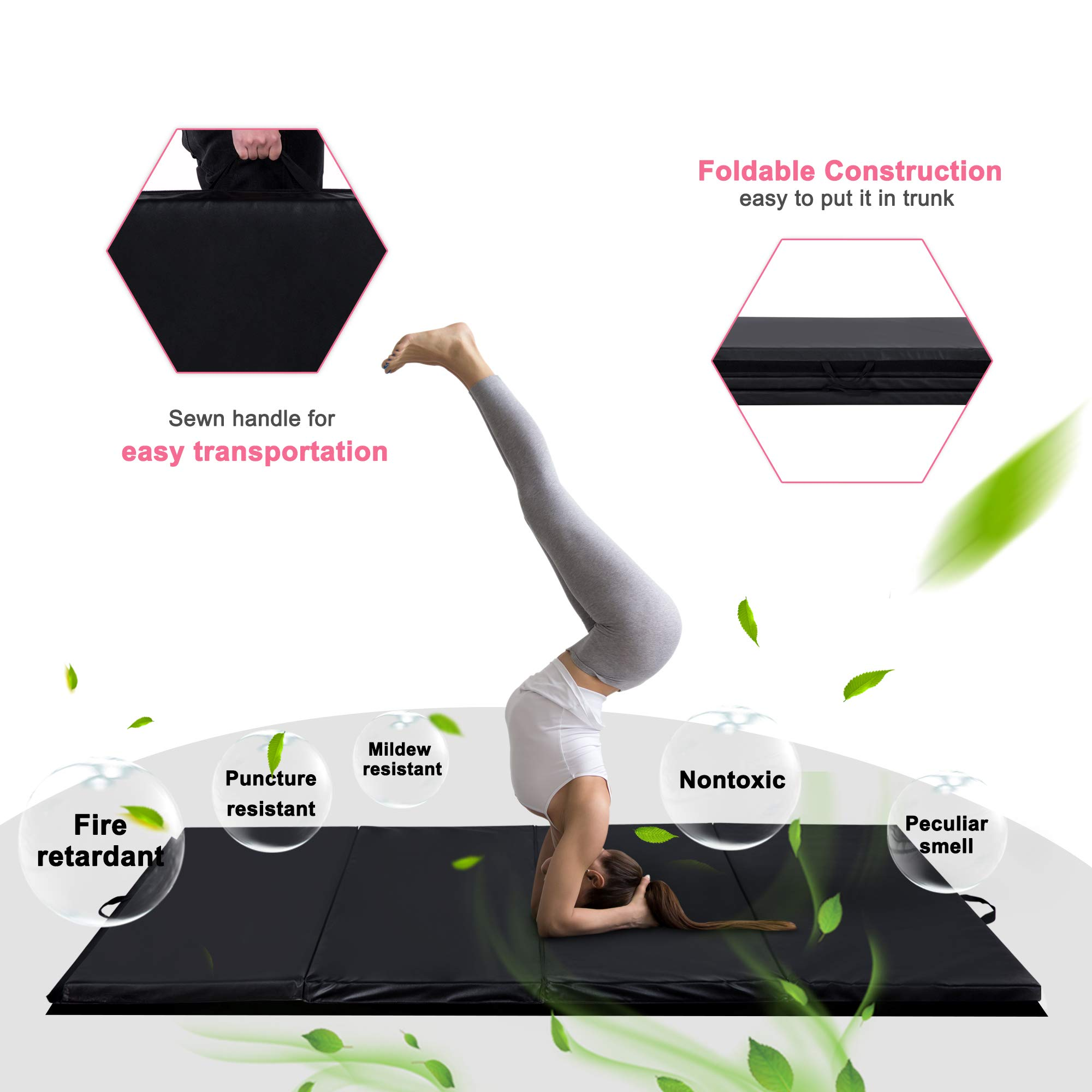 Homevibes 4' x 10' x 2'' Gymnastics Mat Thick Folding Panel Tumbling Mat Gym Exercise Aerobics Mat with Handle Compatibility with Stretching Yoga Cheerlanding Martial Arts, Black by Homevibes (Image #5)