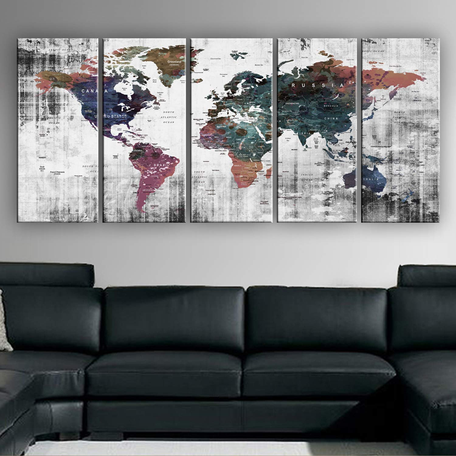 Original by BoxColors Xlarge 30''x 70'' 5 Panels 30x14 Ea Art Canvas Print Watercolor Old Map World Push Pin Travel Wall decor (framed 1.5'' depth) M1809