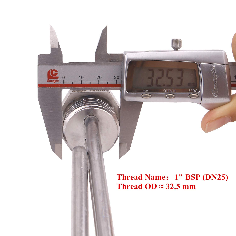 AIICIOO Heizstab Edelstahl 220V 3KW︱BSP 1 Zoll Heizpatrone︱Wasser Heizelement in Premium-Qualit/ät︱Flansch Au/ßendurchmesser 30.53mm