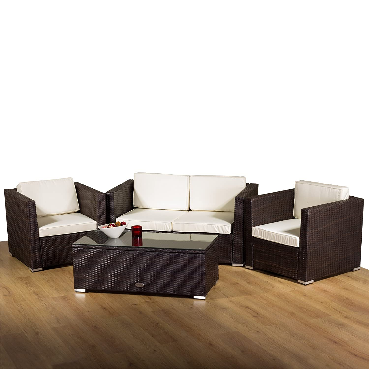 Oseasons New Rattan Oxford 4 Seater Conservatory Sofa Set in Brown