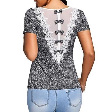 Wolfleague Mode T-Shirt Femmes Dentelle Chic Manche Courte Rose Imprimer O  Cou Pull T 04897d4e116