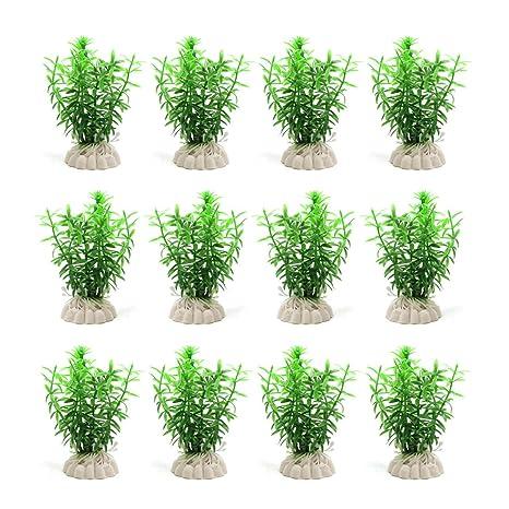 sourcing map Planta De Hierba Verde 12Pcs De Plástico del Tanque del Acuario Ornamento Decorativo Paisaje