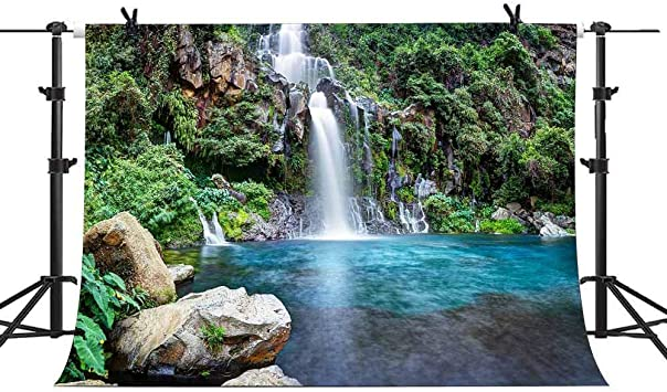 7X5ft Waterfall Photography Backdrop Nature Landscape Background Green Forest Clear Lake Backdrop Travel Theme Mountain Water Photo Wallpaper Outdoor Shooting Video Studio Props SPGE035 LELEZ