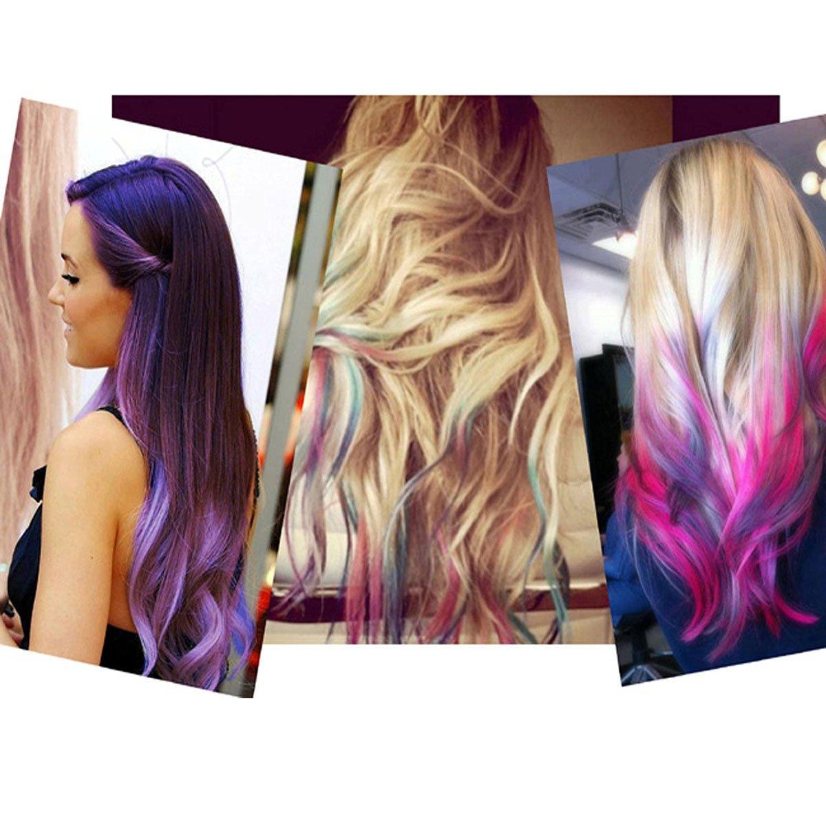 Frcolor 6pcs portatile capelli gesso metallico Glitter temporaneo capelli colore strumento bordo Chalkers funziona su tutti i capelli da colorare Essentials impostare