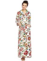 Cinderella Long Women's Terry Cotton Bath Robe - Toweling With Belt - Floral