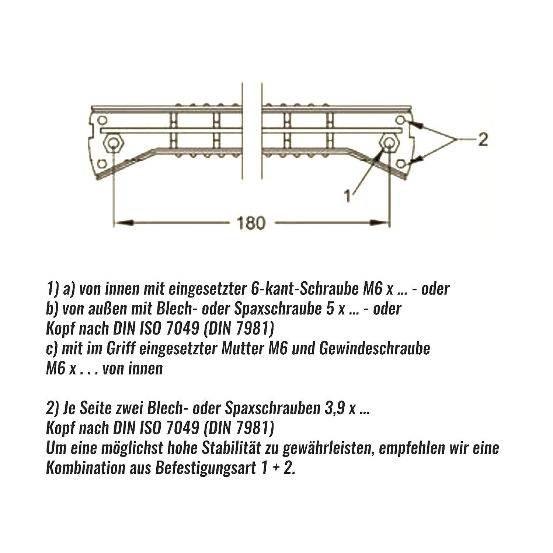4 Kunststoff Eierschalenwei/ß MPK Wohnwagen Rangiergriff 180 mm B/ügelgriff Haltegriff