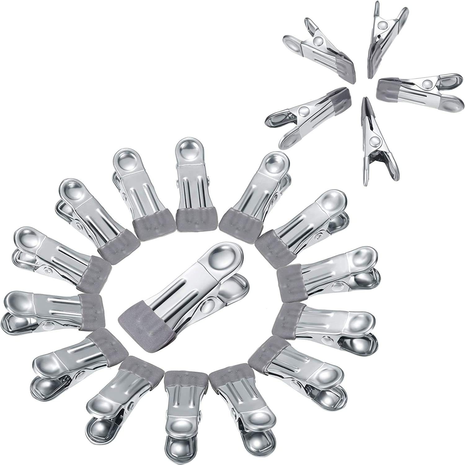 Patelai 20 PiecesSwimming Pool Cover Clips Stainless Steel Clothespins Multi Function Windproof Clothes Clip Metal Spring Clamps for Winter Swimming Pool Cover DryingClothes Food Sealing (Silver)