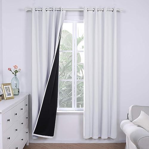 Deconovo White Blackout Curtain 100 Blackout Curtains Total Light Blocking Window Drape Curtains