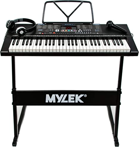 Mylek Teclado electrónico portátil de 61 teclas para enseñanza musical de piano, soporte, auriculares, micrófono, 300 timbres/300 ritmos, 30 canciones ...