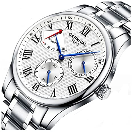 Review Mens Power Reserve Display Automatic Mechanical Watches Full Stainless Steel Waterproof Swiss Watches
