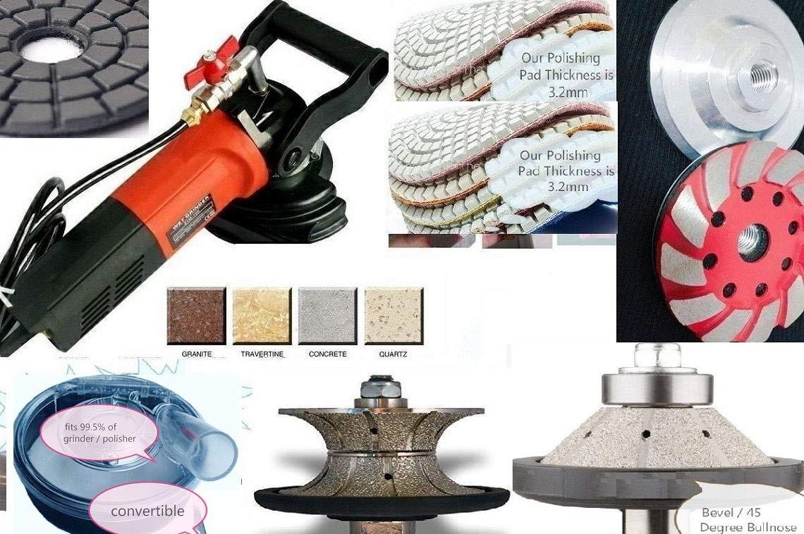 7 Inch Wet Polisher Dust shroud 17 pad grinding cup granite concrete masonry