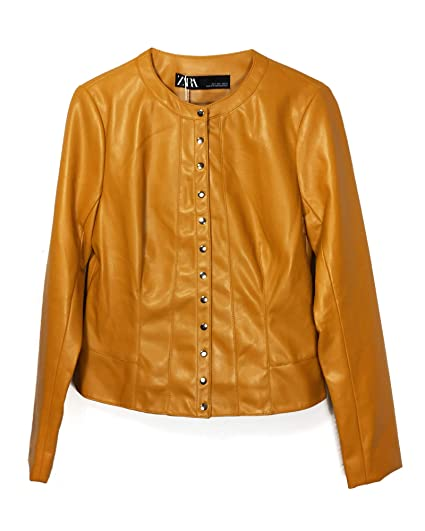 bb8b2e4df Zara Women's Buttoned Faux Leather Jacket 3046/039 Yellow: Amazon.co ...