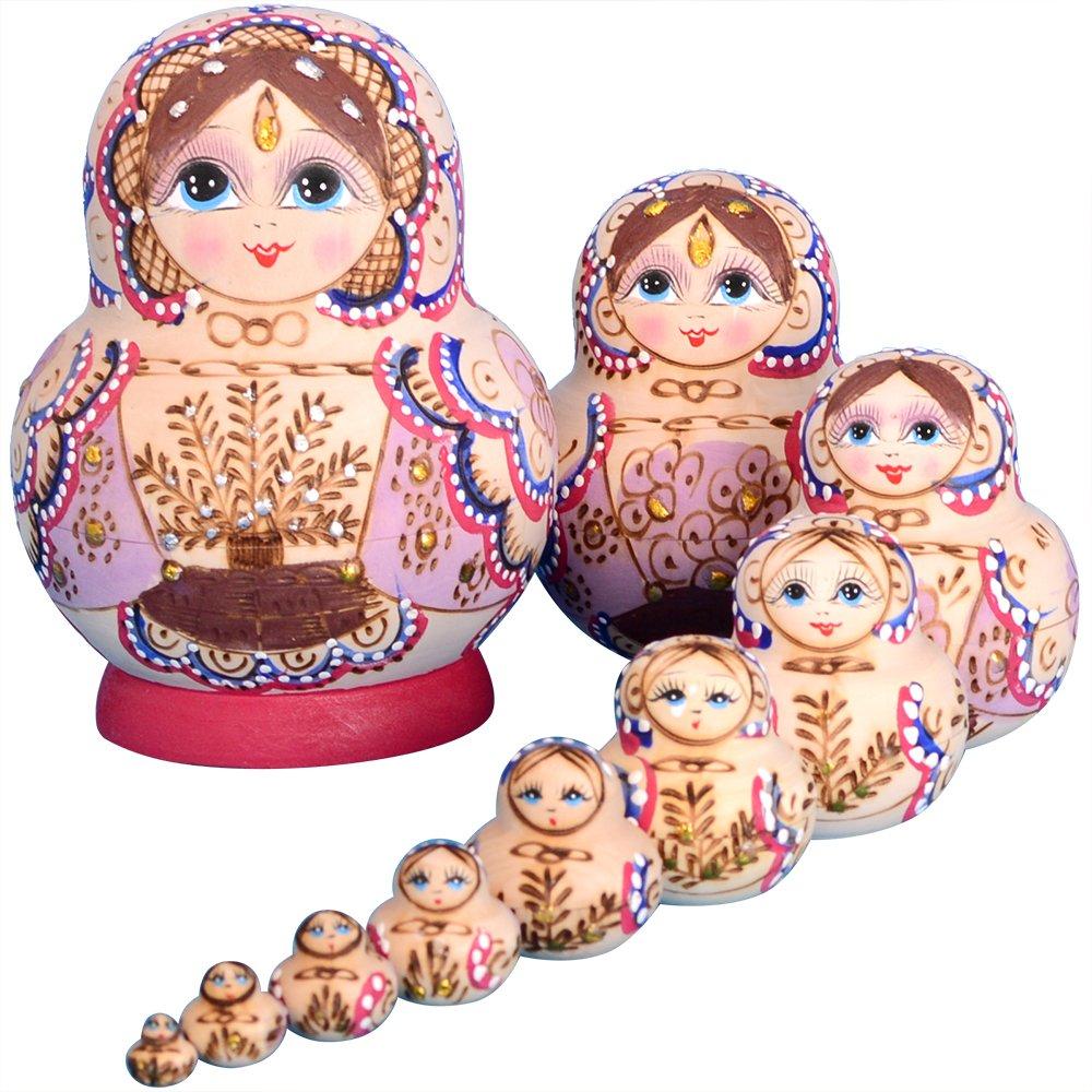 YAKELUS 10pcs Russian Nesting Dolls Matryoshka handmade1075