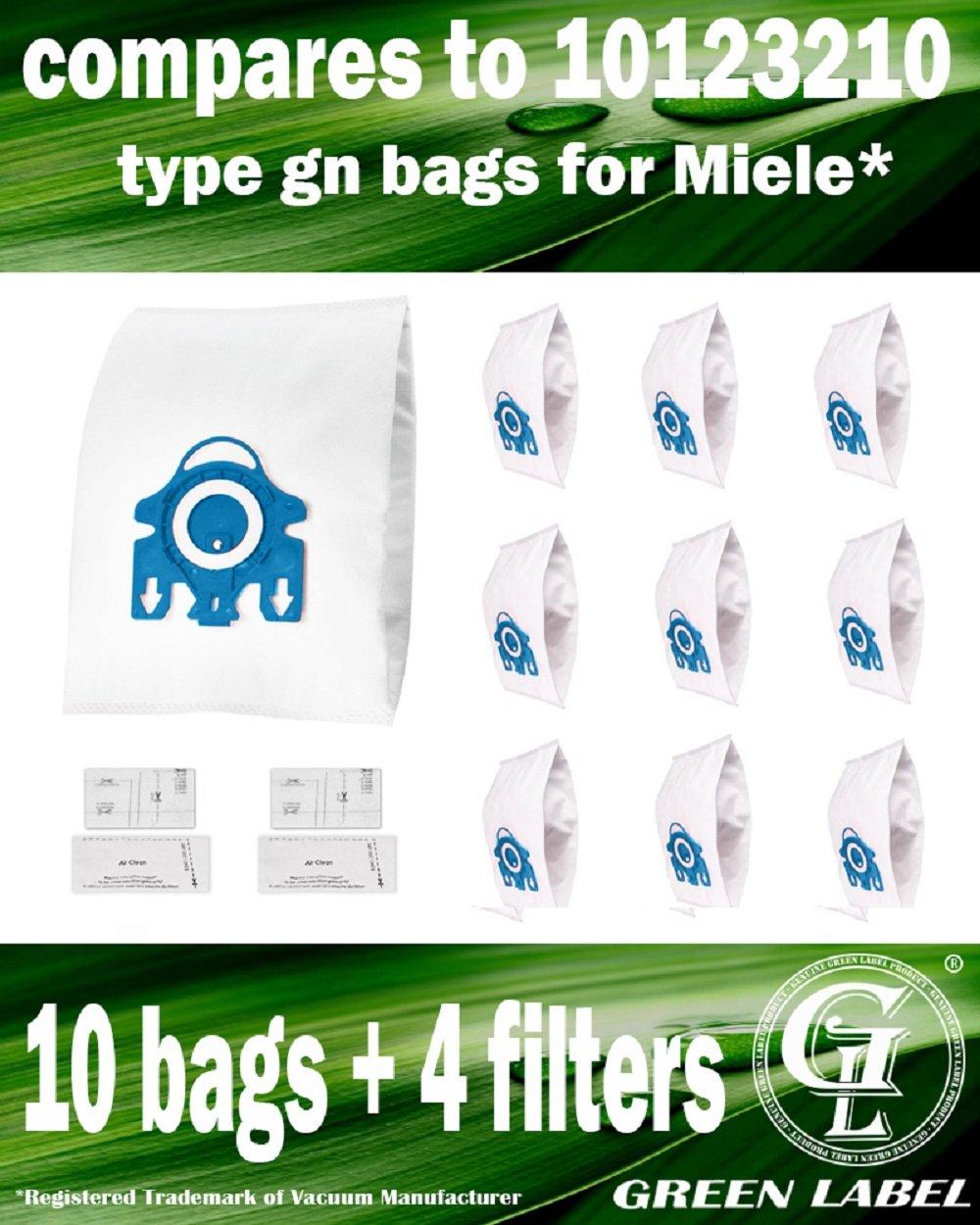 Reemplaza a 10123210 10+4 Empaque de 10 Bolsas 3D de tipo AirClean GN y 4 Microfiltros para aspiradora Miele Producto genuino de Green Label