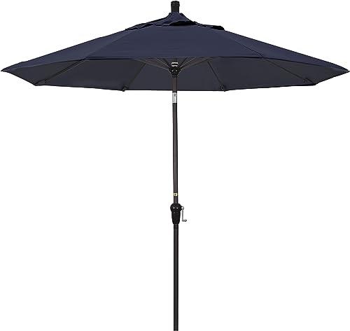 California Umbrella 9 Round Aluminum Market Umbrella, Crank Lift, Auto Tilt, Bronze Pole, Navy Blue