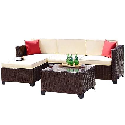 Fabulous Amazon Com Belmont Home Bh Baza 5 Piece Outdoor Wicker Creativecarmelina Interior Chair Design Creativecarmelinacom