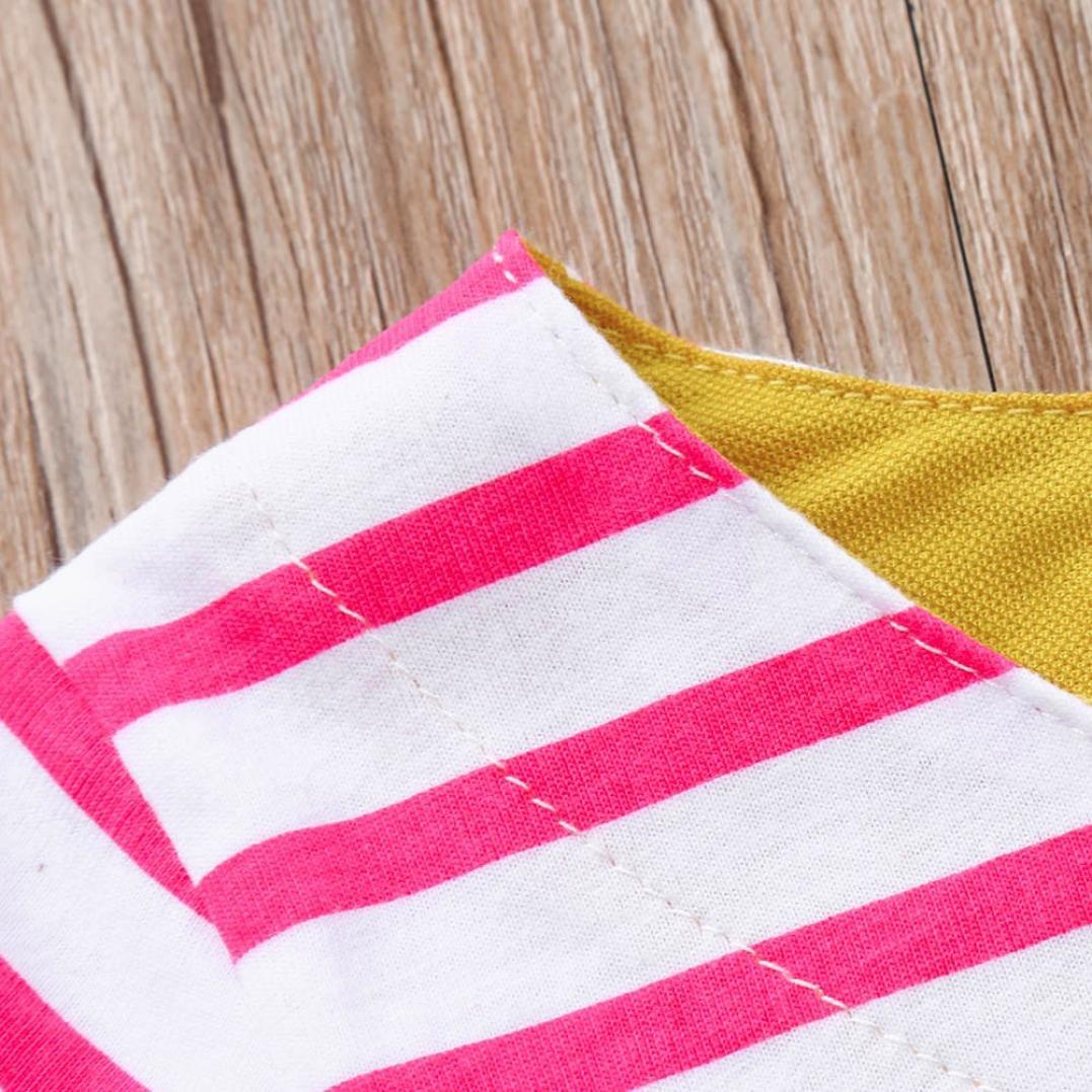 kaiCran Fashion Little Girls Cotton Dress Set Stereoscopic Cartoon Striped Dress Short Sleeve Clothes