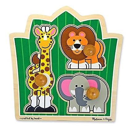 Amazon Com Melissa Doug Jungle Friends Large Peg Puzzle