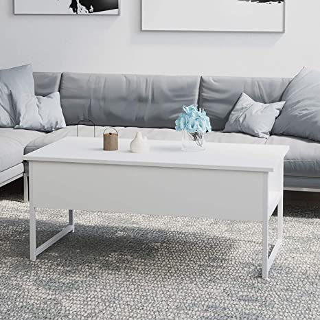 Jeffordoutlet Coffee Table Lift Up Top Wood Metal Sturdy Home Table Furniture For Receiving Dining Studying With Hidden Storage White