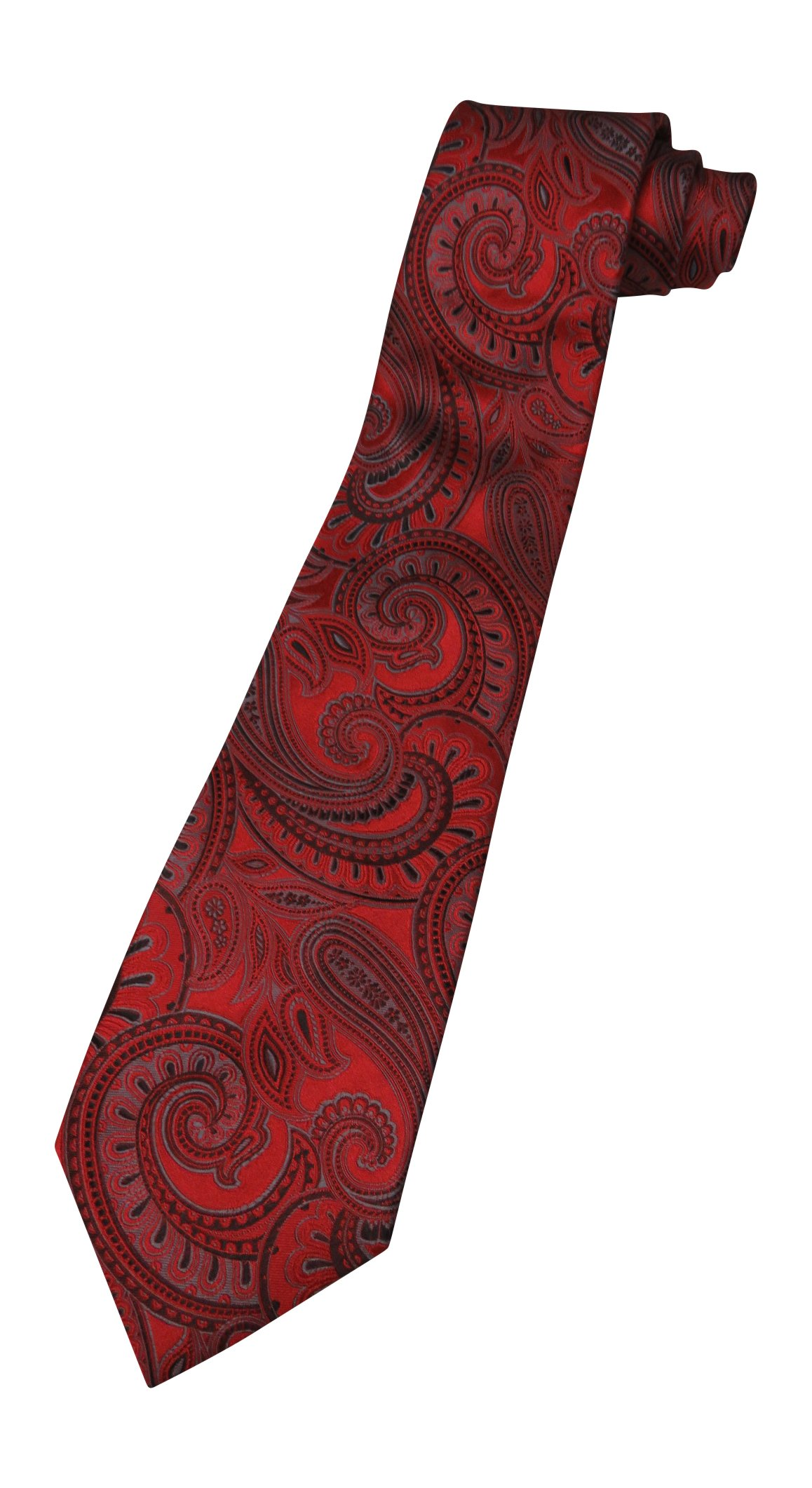 Donald Trump Neck Tie Red, Black and Silver Paisley with Gold Plaque
