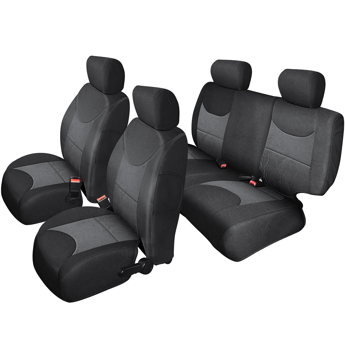 OxGord Custom Fit Seat Cover for 2013-2018 Jeep Wrangler Unlimited JK 4WD/2WD - Front and Rear Set, Gray & Black