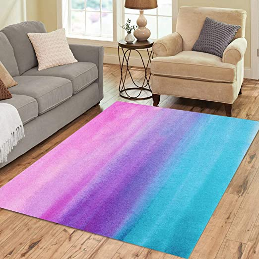 Amazon Com Pinbeam Area Rug Blue Ombre Abstract Watercolor Hand Pink Gradient Watercolour Home Decor Floor Rug 3 X 5 Carpet Kitchen Dining