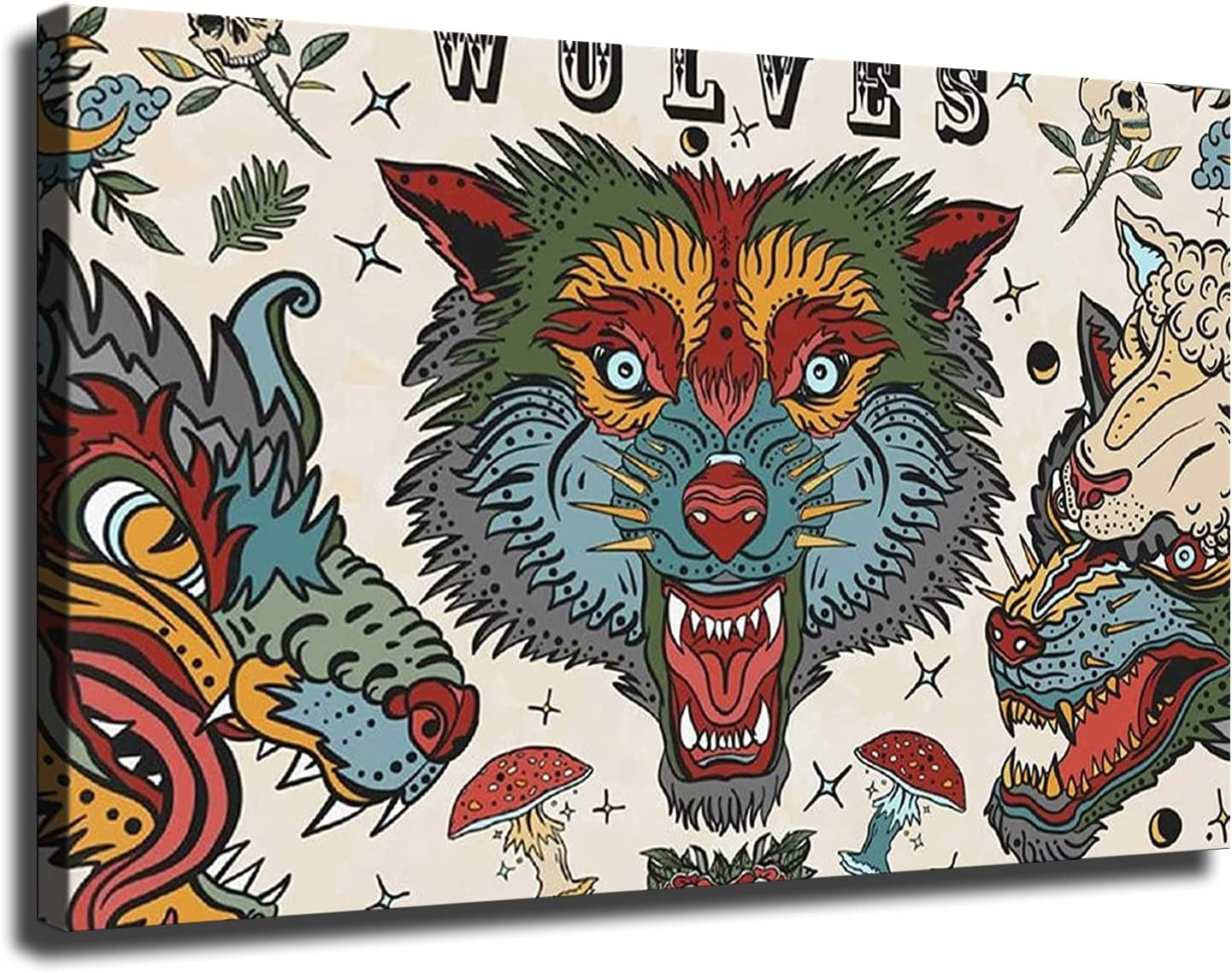 Wolves Tattoo Poster Picture Art Print Canvas Wall Art Home Living Room Decor Mural (12×16inch-No Framed)