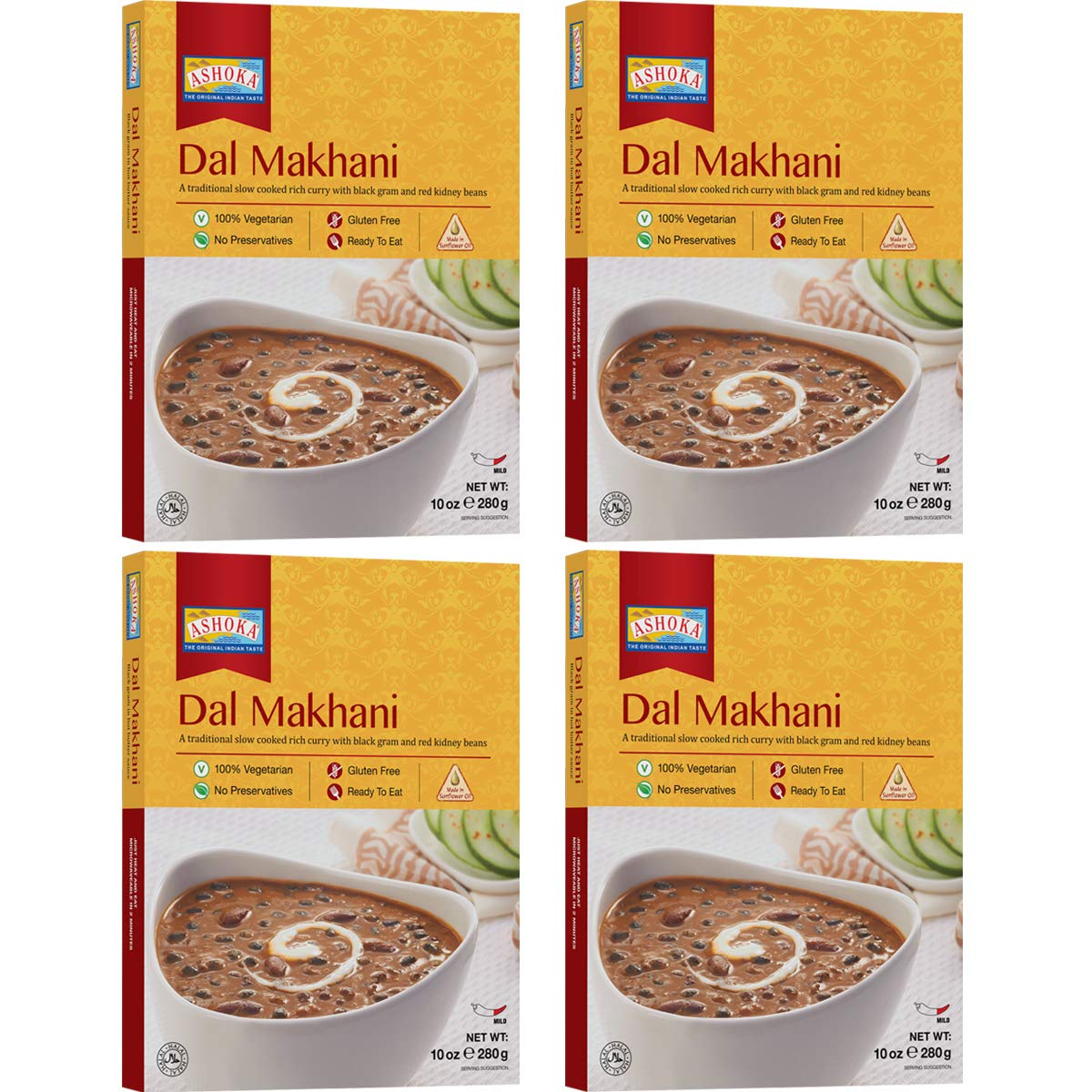 Ashoka Microwaveable Ready to Eat Meals - Dal Makhani Slow Cooked Curry with Black Gram and Red Kidney Beans (Pack of 4)