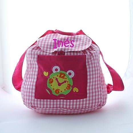 Bolsa mochila reloj, en tela vichy cuadros rosas y blancos, personalizada con nombre.