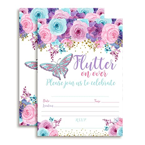 Amazon Amanda Creation Watercolor Floral Butterfly Birthday Party Fill In Style Invitations Pink Blue And Purple Set Of 20 Including Envelopes