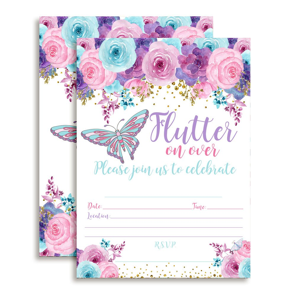 Amanda Creation Watercolor Floral Butterfly Birthday Party Fill in Style Invitations in Pink, Blue and Purple. Set of 20 Including envelopes