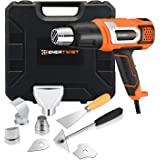 EnerTwist Heat Gun 1500 Watt Variable Temperature Control Hot Air Tool Kit Heating Protect for Shrink Wrapping, Paint…