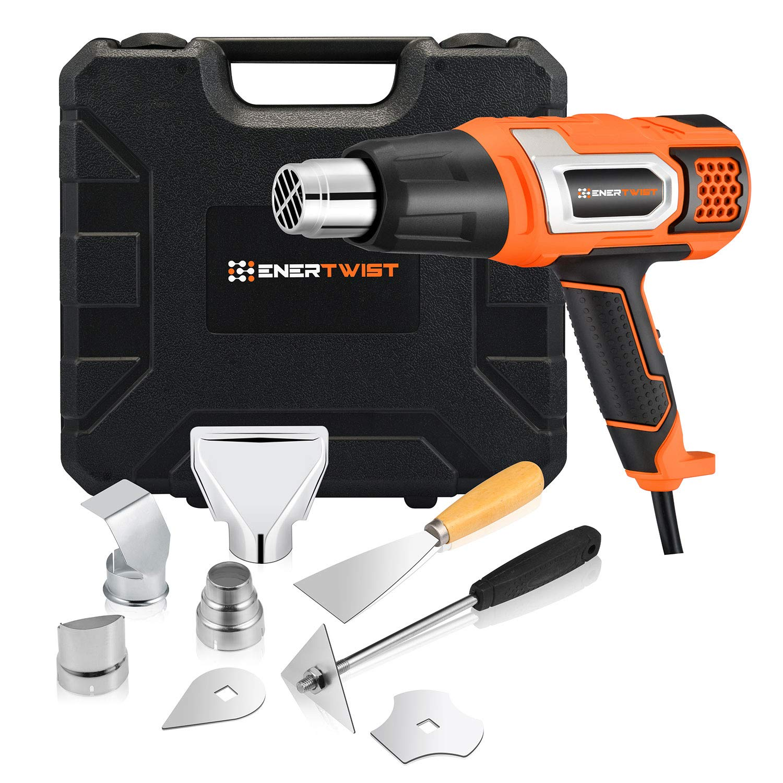EnerTwist Heat Gun 1500 Watt Variable Temperature Control Hot Air Tool Kit Heating Protect for Shrink Wrap, Vinyl, Paint Removal, Wiring, Soldering, Crafts, Automotive, Tubing, Electronics Repair