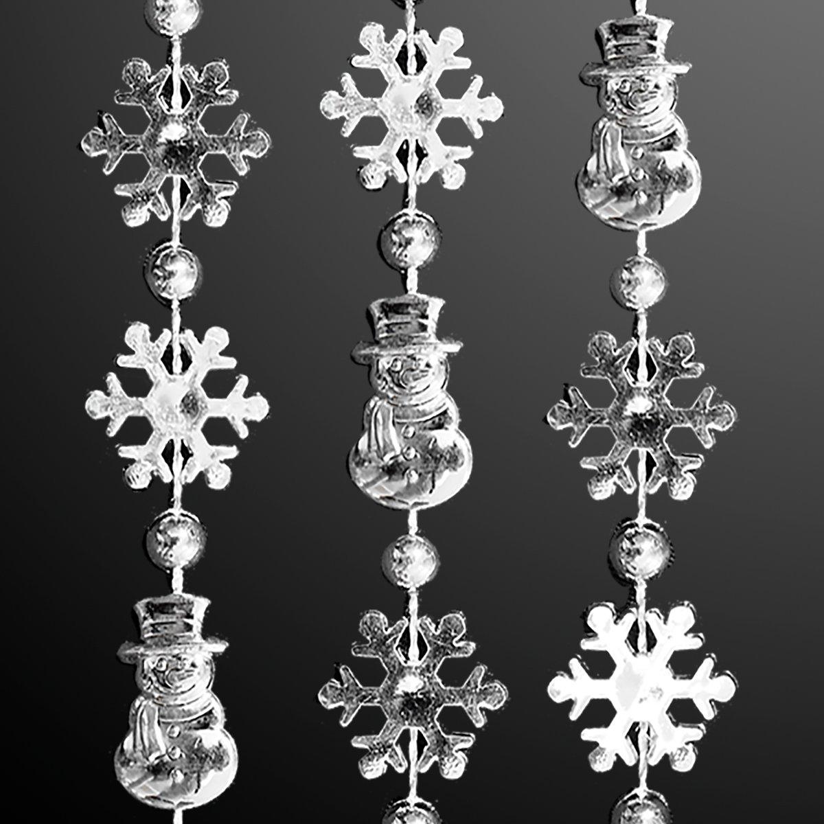 FlashingBlinkyLights Silver Snowflakes & Snowman Bead Necklaces (Set of 72)