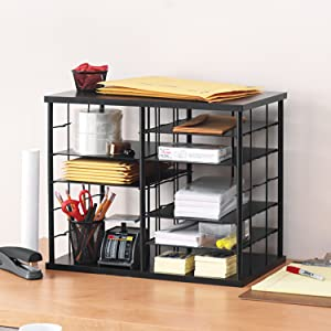 Rubbermaid 1738583 12-Slot Organizer MDF Desktop Sorter 21 x 11 3/4 x 16 Black