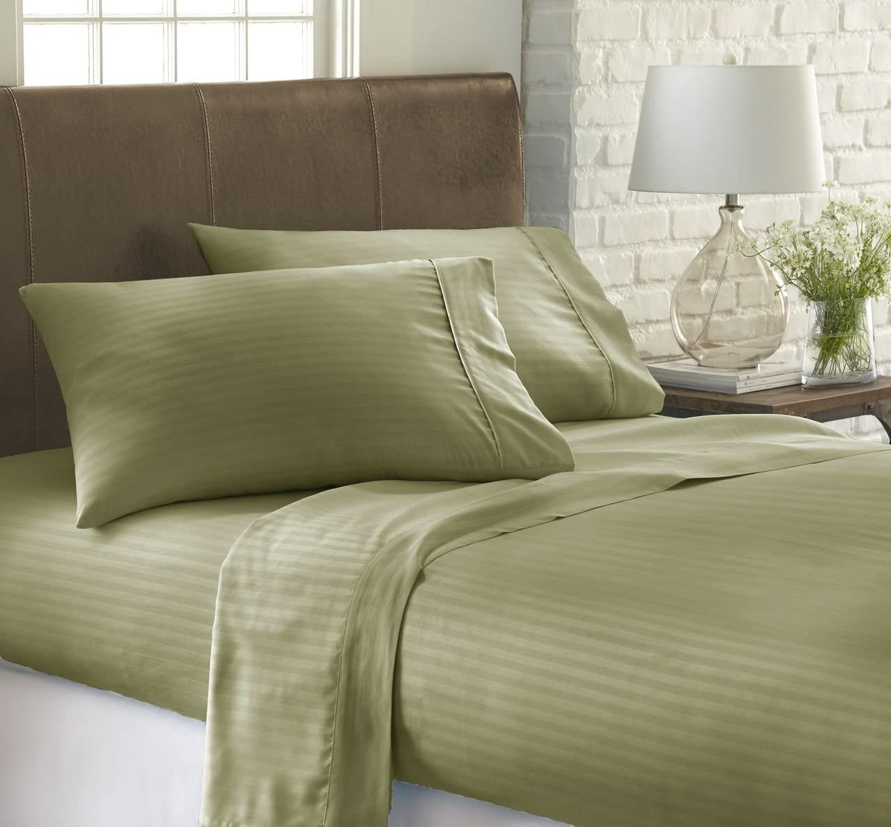 ienjoy Home IEH Queen-SAGE Embossed Dobby Stripe 4 Piece Quality Sheet Set