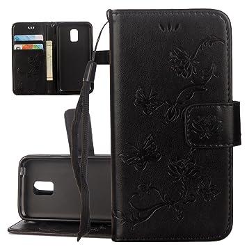 ISAKEN Funda para Samsung Galaxy S5, Cartera Fundas de PU Cuero Leather Wallet Case Cover Carcasa Funda con Portátil Correa función de Soporte para ...