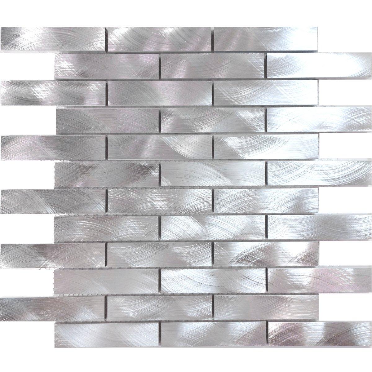 Modket TDH211MO Metal Metallic Aluminium Brick Joint Pattern Mosaic Tile Backsplash