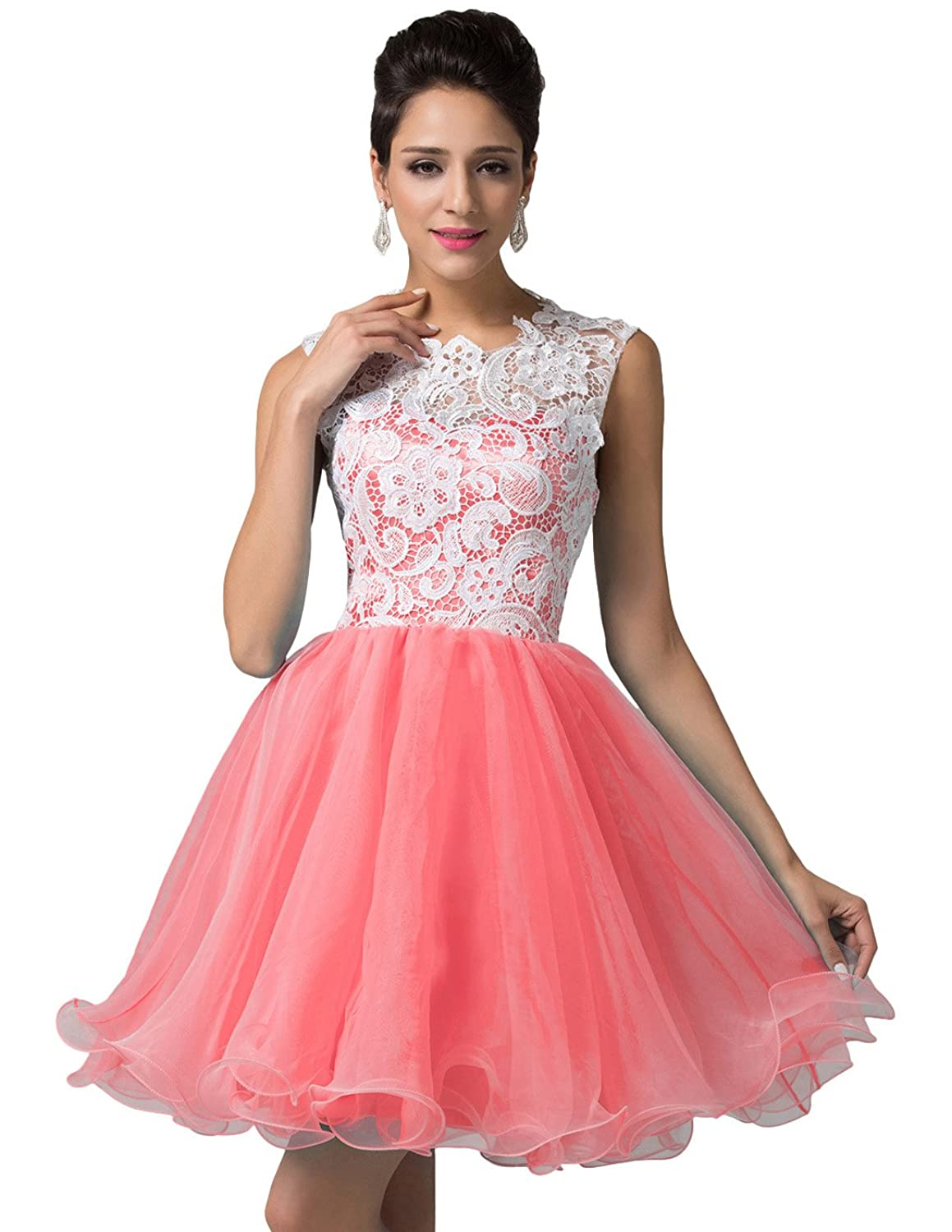 GRACE KARIN Juniors' Lace Bodice Tulle Short Homecoming Dress Cocktail Prom Gown