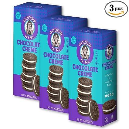 Goodie Girl Cookies, Chocolate Creme Sandwich Gluten Free Cookies, Peanut Free Cookies (10.6oz Box, Pack of 3)